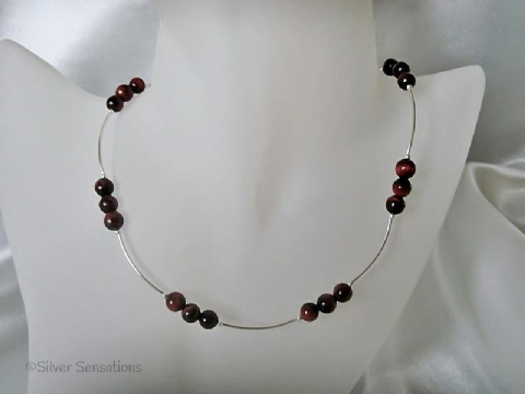 Red Tiger's Eye & Sterling Silver Curved Tubes Necklace